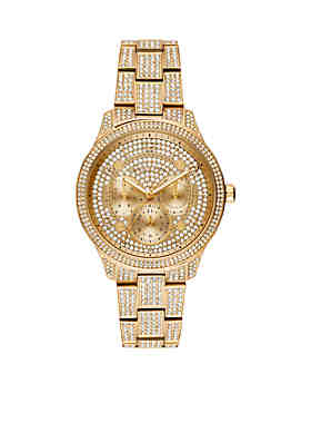 c26ecc7b655a Michael Kors Runway Multi-Function Pave Gold-Tone Stainless Steel Watch ...