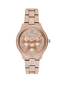 Runway Multi-Function Pave Rose Gold-Tone Stainless Steel Watch
