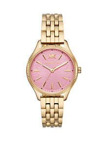 fe9e5daad8ce ... Michael Kors Lexington 3 Hand Gold-Tone Stainless Steel Watch