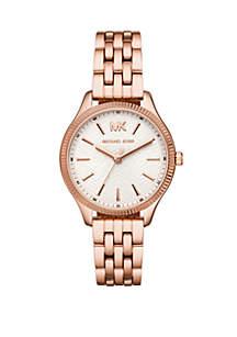 Michael Kors Lexington 3 Hand Rose Gold-Tone Stainless Steel Watch