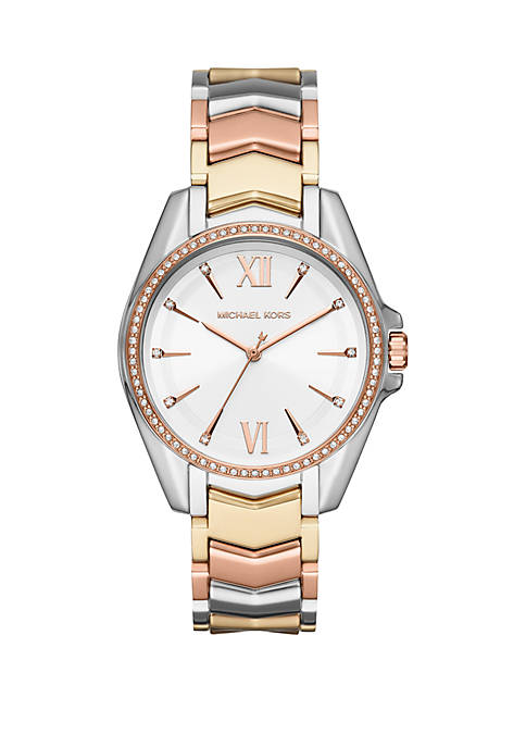 Whitney 3 Hand Tri Tone Stainless Steel Watch
