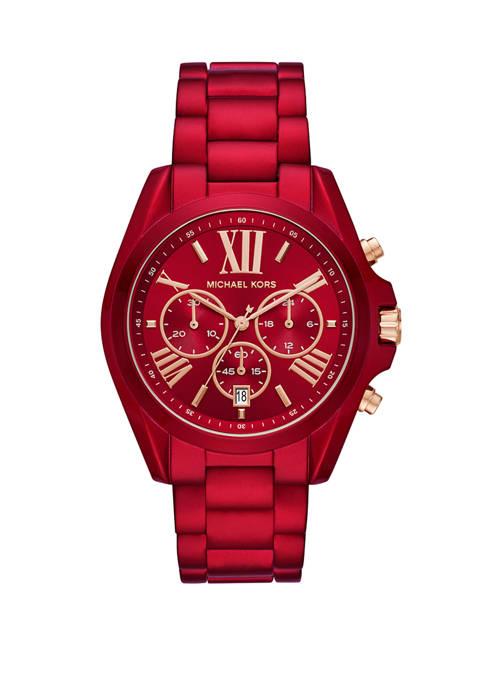 Michael Kors Womens Bradshaw Chronograph Red Stainless Steel