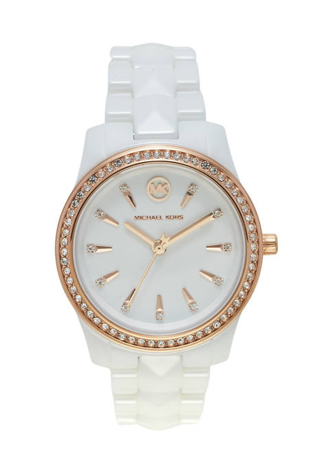Fossil® Runway White Glitz Ceramic Watch