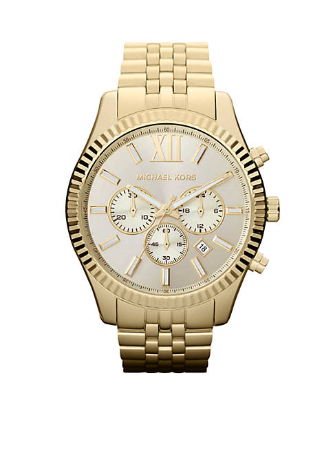 Michael Kors Mens Gold-Tone Stainless Steel Lexington Chronograph