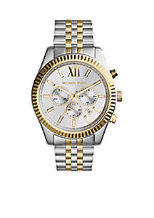 Men's Silver and Gold Tone Stainless Steel Lexington Chronograph Watch