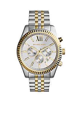da6b3cf7ff8ed Michael Kors Men s Silver and Gold Tone Stainless Steel Lexington Chronograph  Watch ...