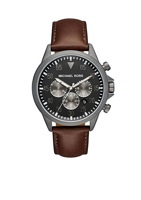 Michael Kors Gage Gunmetal Chocolate Leather Chronograph Watch