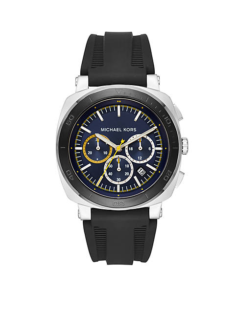 Michael Kors Bax Stainless-Steel and Black Silicone Chronograph