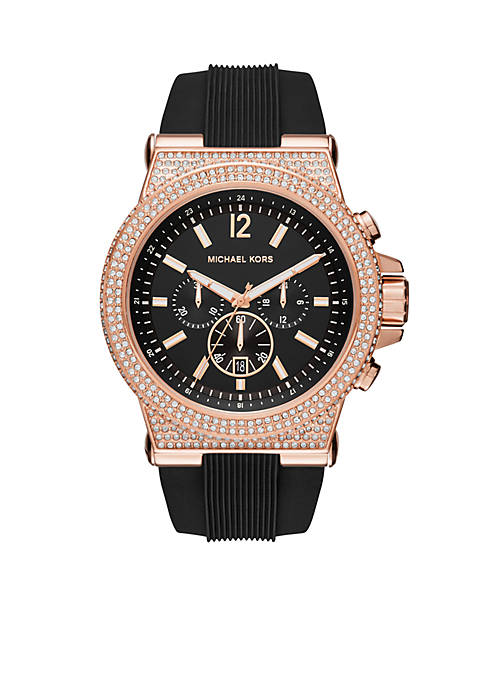 Michael Kors Dylan Rose Gold-Tone and Black Silicone