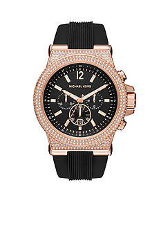 Michael Kors Dylan Rose Gold-Tone and Black Silicone Chronograph Watch