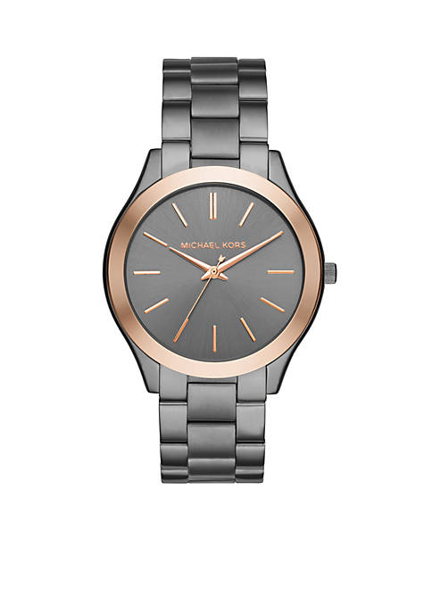 Michael Kors Womens Two-Tone Slim Runway Gunmetal Watch