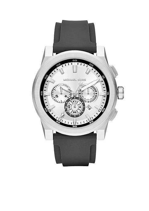 Michael Kors Mens Stainless Steel Grayson Black Silicone