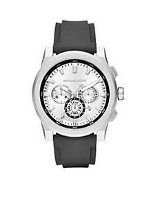 Men's Stainless Steel Grayson Black Silicone Chronograph Watch