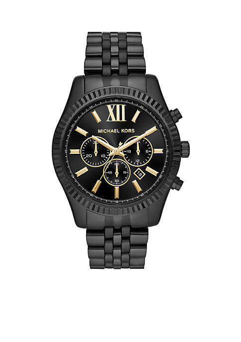 Michael Kors Mens Stainless Steel Lexington Black IP