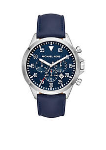Stainless-Steel and Navy Leather Gage Watch