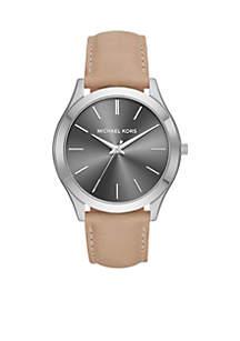 Men's Stainless-Steel Slim Runway and Brown Leather Watch