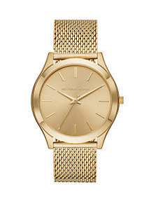 Michael Kors Gold Tone Slim Runway Mesh Watch