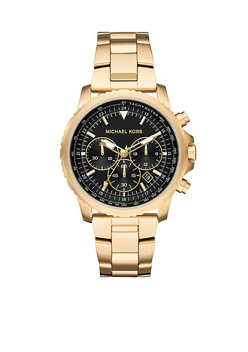 Michael Kors Gold-Tone Theroux Black Dial Watch