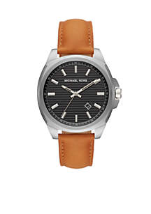 Bryson Three-Hand Brown Leather Watch