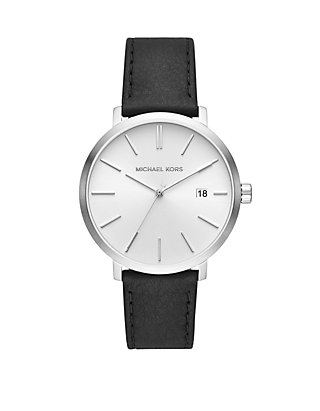 25588bcfa989 Michael Kors Mens Blake Three Hand Black Leather Watch ...