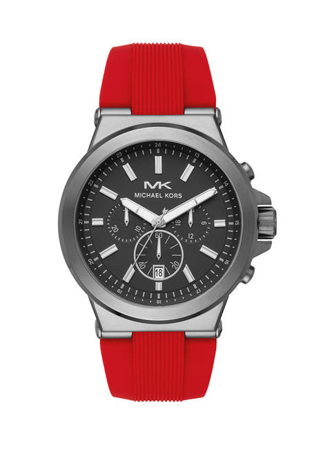 Michael Kors Mens Dylan Chronograph Matte Red Silicone