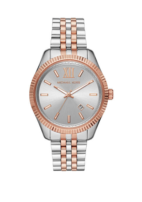 Michael Kors Lexington Three Hand Stainless Steel Watch