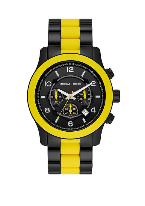 Michael Kors Mens Runway Chronograph Black IP Stainless