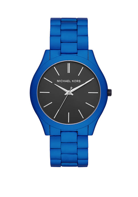 Michael Kors Mens Slim Runway Three Hand Blue