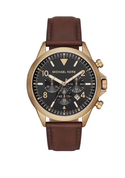 Michael Kors Mens Gage Chronograph Chocolate Leather Watch