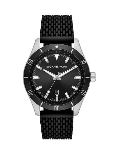 Michael Kors Mens Layton Three Hand Black Silicone