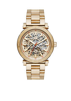 Michael Kors Brushed Gold-Tone Three-Link Automatic Watch