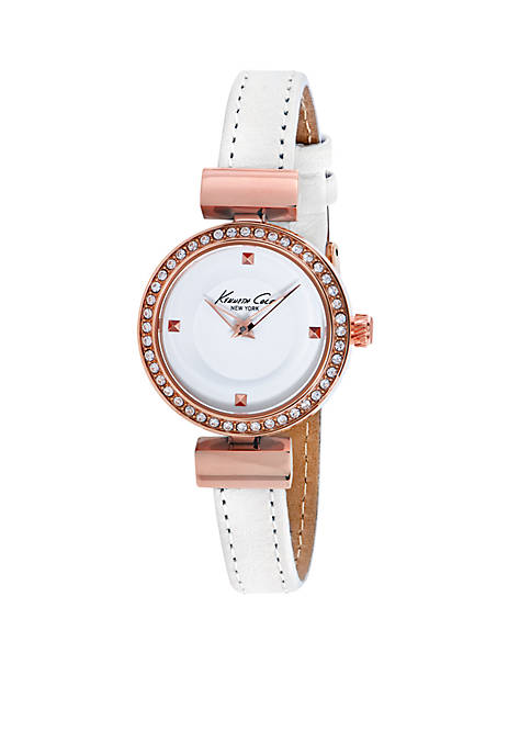 Kenneth Cole Rose Gold-Tone White Leather Strap Watch