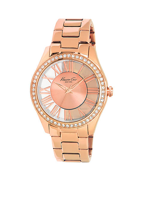 Kenneth Cole Womens Rose Gold Transparent Watch with