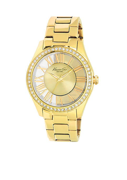 Kenneth Cole Womens Gold Stainless Steel Transparent Watch