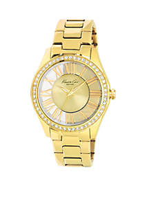 Women's Gold Stainless Steel Transparent Watch with Crystal Bezel