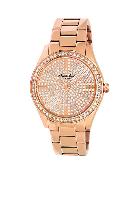 Kenneth Cole Womens Rose Gold Crystal Embellished Watch