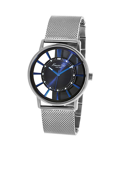 Kenneth Cole Mens Blue Plated Transparent Dial with