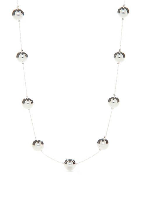 Silver Tone Ball Illusion Necklace