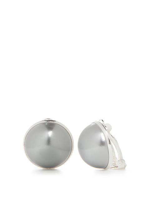 Kim Rogers® Gray Pearl Button Earrings