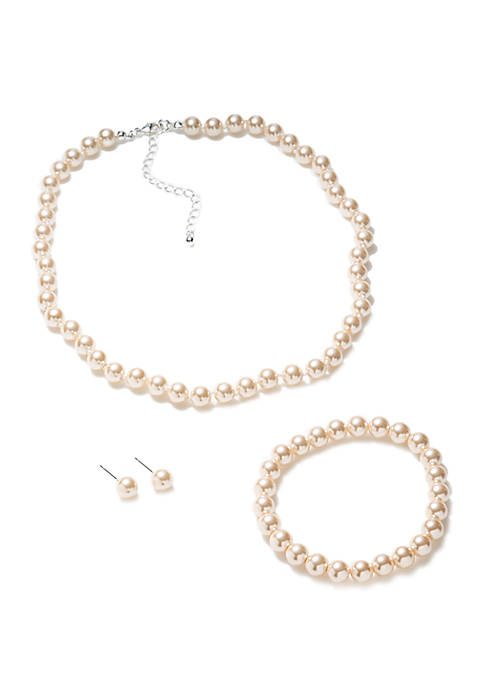 8 mm Pearl Necklace Bracelet and Earring Set