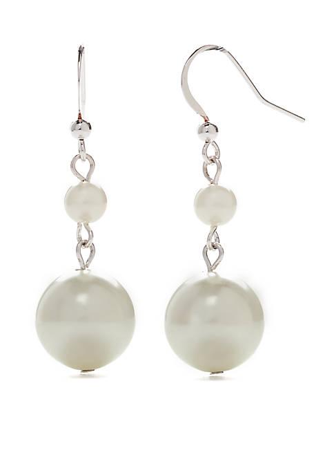 Kim Rogers® Silver Tone Pearl Drop Earrings