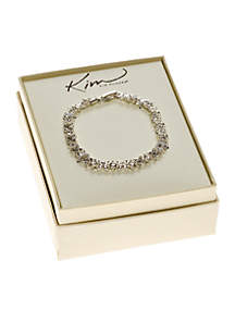 Clear Stone Flower Tennis Boxed Bracelet