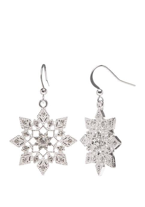 Joyland Silver Tone Filigree Silver Snowflake Drop Earrings