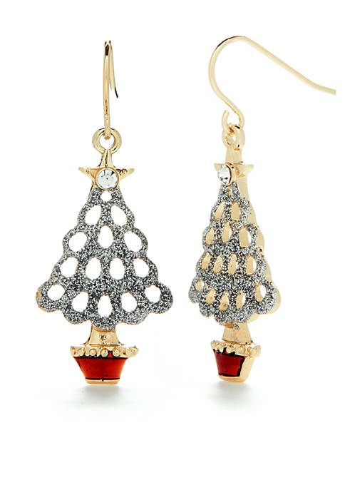 Kim Rogers® Gold Tone Glitter Tree Holiday Drop