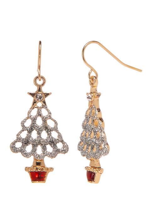 Joyland Gold Tone Glitter Tree Drop Earrings