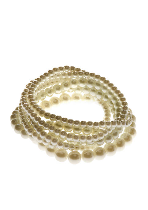 Kim Rogers® White Pearl 7 Row Stretch Bracelets