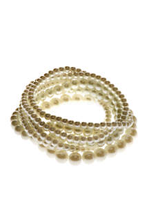 White Pearl 7 Row Stretch Bracelets