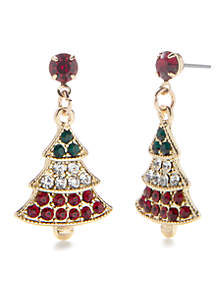 Gold Tone Tricolor Holiday Tree Drop Earrings