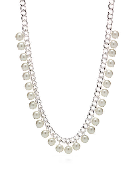 Kim Rogers® White Pearl Bauble Link Necklace