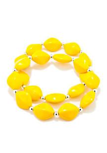 Set of 2 Yellow Flat Oval Bead Stretch Bracelets